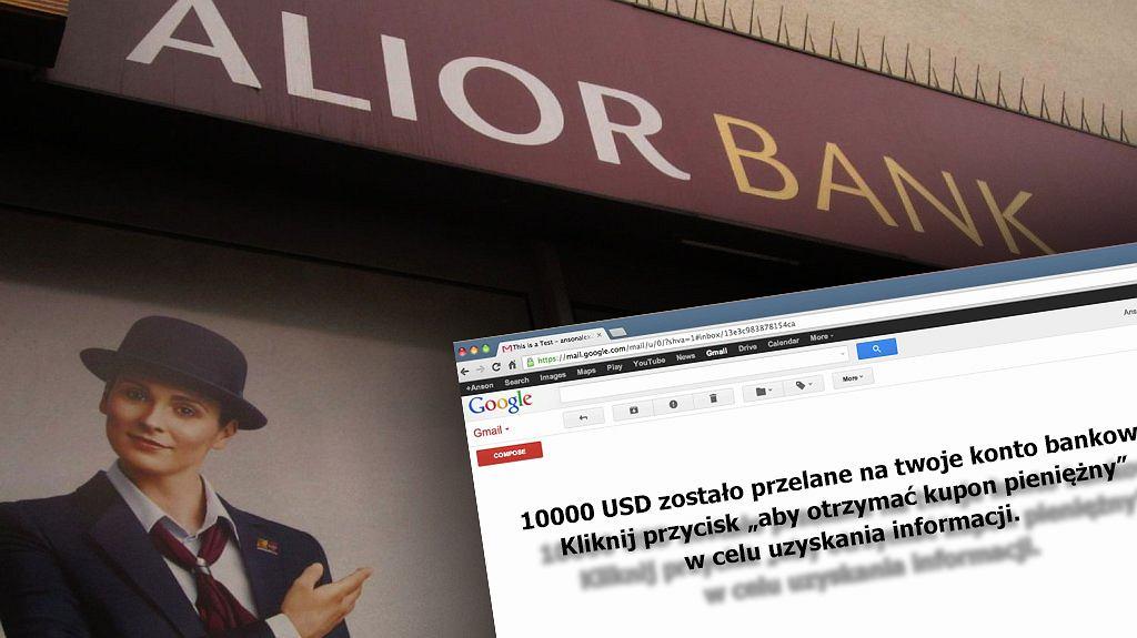 Alior Bank nie rozsyła wiadomości o przelewie na 10 tys. zł.