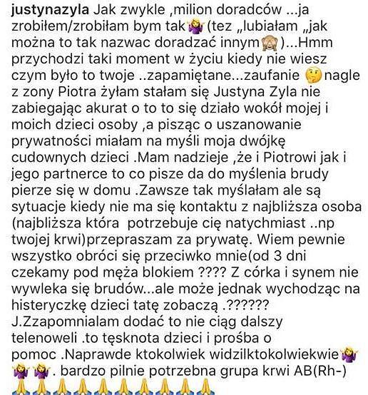 Justyna Żyła - wpis na Instagramie
