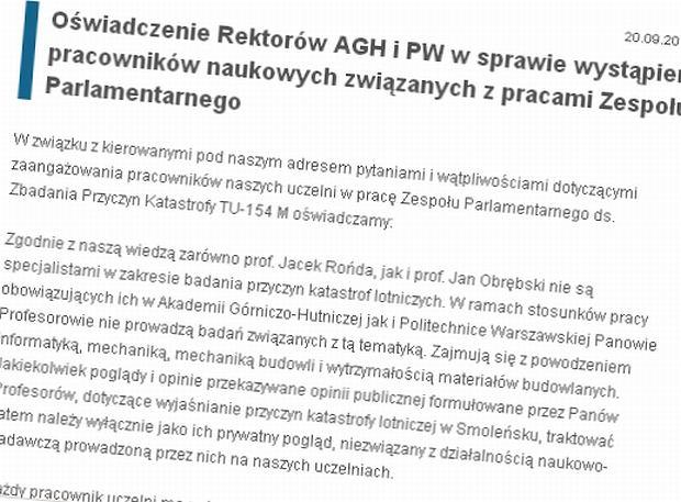 O�wiadczenie w�adz AGH i Politechniki Warszawskiej