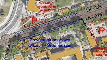 Lokalizacja przystanku kolejowego Olsztyn Śródmieście