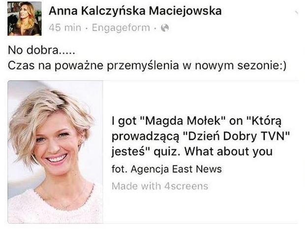 Wpis Anny Kalczyńskiej na Instagramie