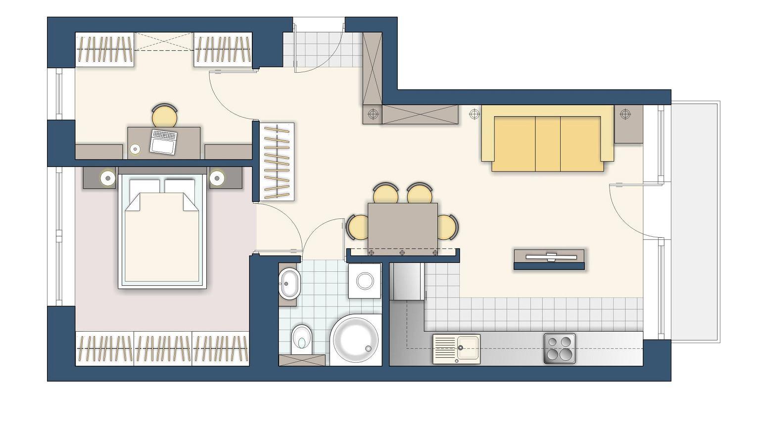 48 m kw jak zaprojektowa 2 pokojowe mieszkanie dla rodziny. Black Bedroom Furniture Sets. Home Design Ideas