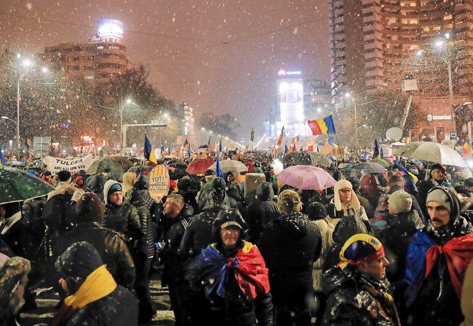 20.01.2018, Bukareszt, wielotysięczna demonstracja przeciwko zmianom w prawie.