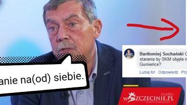 Zrzut z ekranu zamieszczony na stronie Nowy Szczecin z pytaniem Bartłomieja Sochańskiego do Bartłomieja Sochańskiego