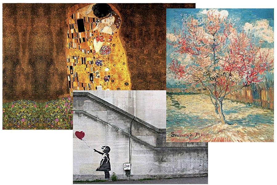 Reprodukcje znanych obrazów Klimy, Banksy, Van Gogh