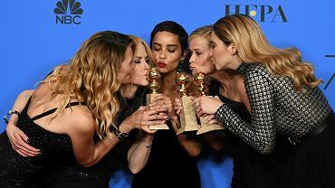 Złote Globy 2018. Laura Dern, Nicole Kidman, Zoe Kravitz, Reese Witherspoon i Shailene Woodley - pozują ze Złotymi Globami za 'Wielkie kłamstewka'