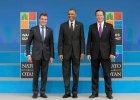 Barack Obama, Anders Fogh Rasmussen i David Cameron na szczycie NATO