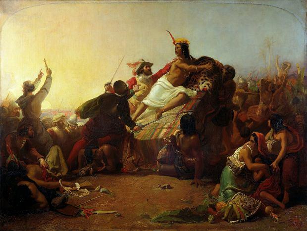 Obraz 'Pizarro zajmuje Peru Inków' Johna Everetta Millaisa