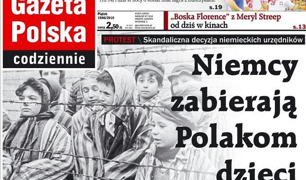 """Szokująca ilustracja w """"Gazecie Polskiej"""". Dzieci z Auschwitz przy artykule o decyzji niemieckiego urzędu"""