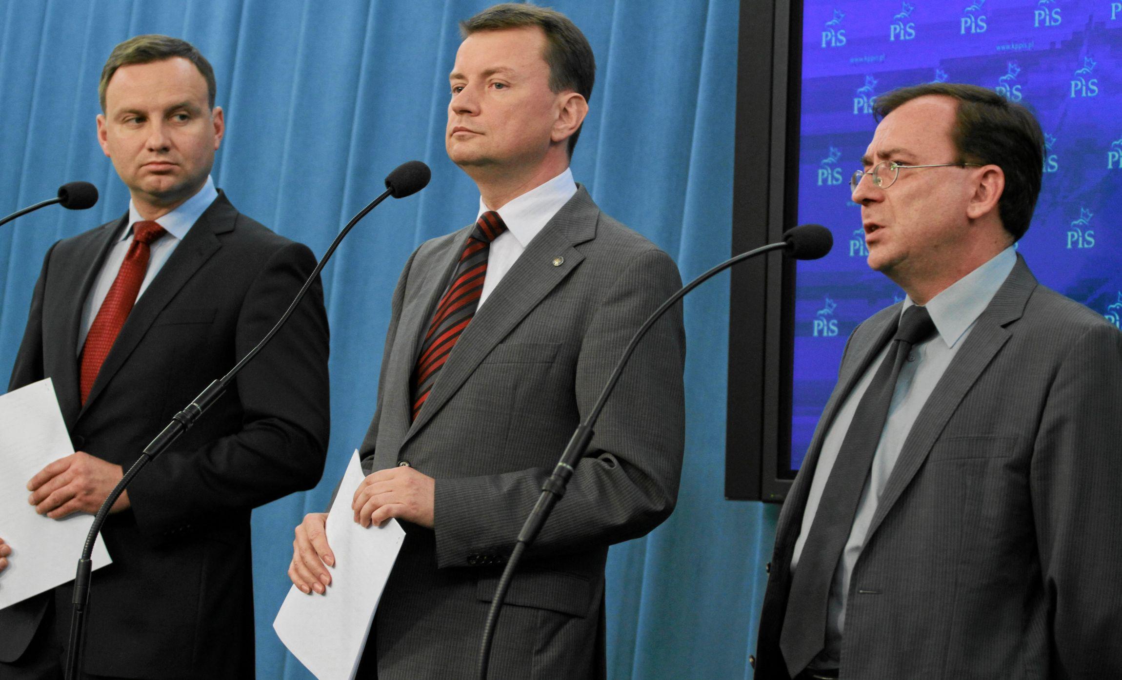 Andrzej Duda, Mariusz Błaszczak i Mariusz Kamiński na konferencji prasowej (fot. Sławomir Kamiński)