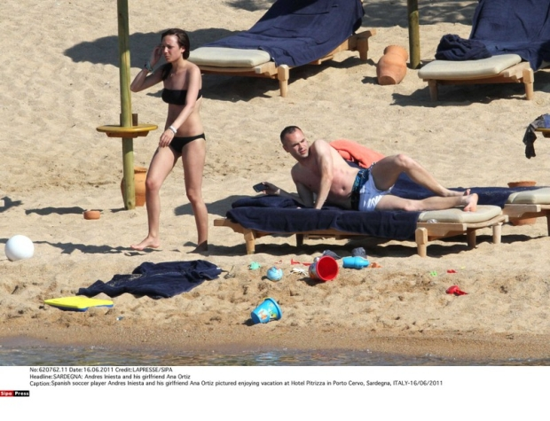 Spanish soccer player Andres Iniesta and his girlfriend Ana Ortiz pictured enjoying vacation at Hotel Pitrizza in Porto Cervo, Sardegna, ITALY-16/06/2011