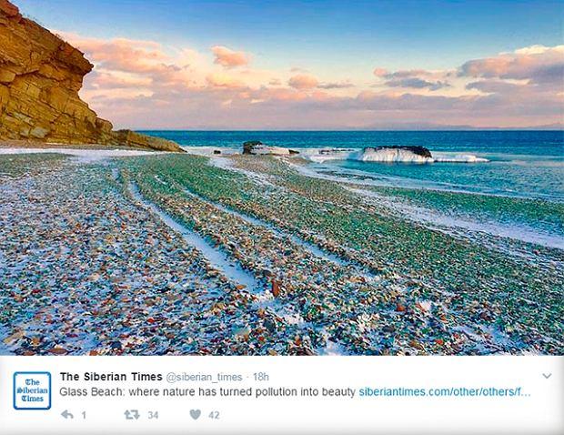 Niezwykła szklana plaża w Rosji