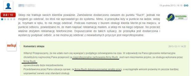 Opinie o sklepie Merlin.pl