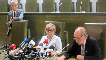 Pierwsza prezes SN Małgorzata Gersdorf, sędzia Józef Iwulski, oraz rzecznik SN Michał Laskowski podczas konferencji. Warszawa, 4 lipca 2018