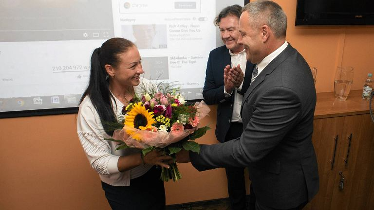 Powitanie kajakarki Beaty Mikołajczyk w Bydgoszczy