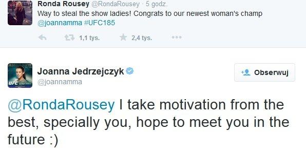 Ronda Rousey gratuluje Joannie Jędrzejczyk, Polka odpowiada
