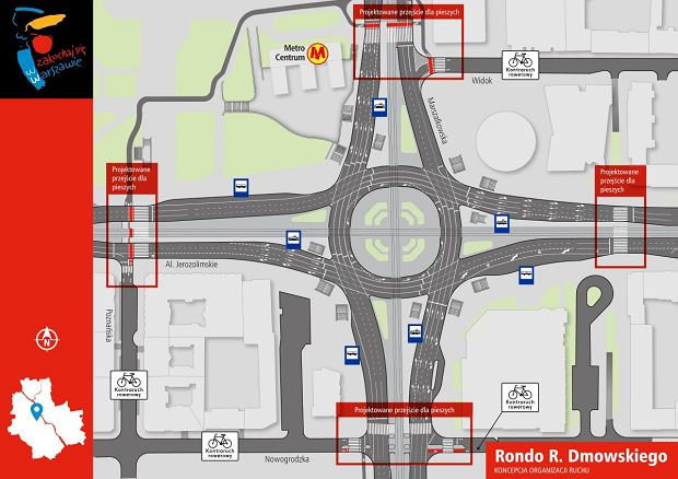 Rondo Dmowskiego - projekt przejść naziemnych