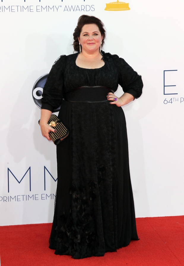 Actress Melissa McCarthy arrives at the 64th Primetime Emmy Awards at the Nokia Theatre on Sunday, Sept. 23, 2012, in Los Angeles. (Photo by Matt Sayles/Invision/AP)