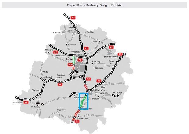 Odcinek A1 od Piotrkowa Trybunalskiego (Bełchatów) do Kamieńska (w niebieskiej ramce)