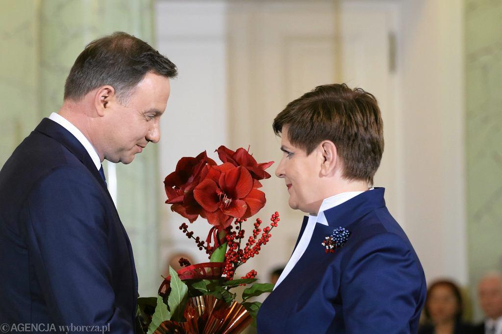 Premier rządu PiS Beata Szydło i prezydent RP Andrzej Duda