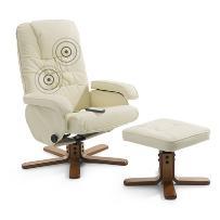 Doskonały fotel relaksacyjny z masażem kolor beżowy RelaxPro