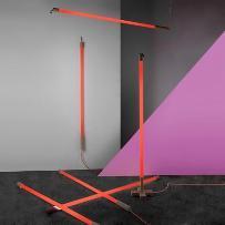 LINEA - Lampa przenośna Neon Fluorescencyjny Czerwony z podstawą Wys. 140cm