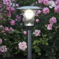 SOLAR - Słupek ogrodowy LED do wbicia Chrom z czujnikiem Wys.51cm