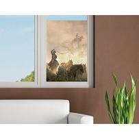 Obraz na okno Cowboys koni dziki zachód do jazdy konnej swobody lasso naklejka okienna folia okienna naklejka na okno tatuaż na szkło dekoracja-naklejka naklejka na okno dekoracja okienna rozmiar: 108cm x 72cm