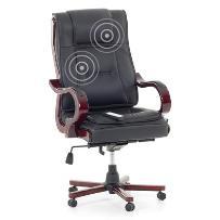 Fotel czarny - fotel biurowy - skórzane krzesło z masażem - MANAGERS