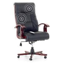 Fotel czarny - Fotel biurowy - Skórzane krzesło z masażem - PRESTIGE