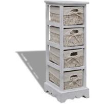 szafka drewniana, biała, pojedyncza, z wiklinowymi koszami marki Vidaxl