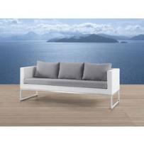 Beliani Sofa ogrodowa biała - trzyosobowa - stal szlachetna i rattan - crema, kategoria: sofy