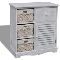 szafka drewniana, biała z wiklinowymi koszami lewej strony marki Vidaxl