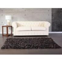 Dywan brązowy - 160x230 cm - shaggy - skórzany - mut, marki Beliani