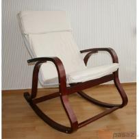 Fotel bujany na biegunach ciemne drewno beżowy