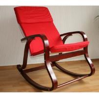Fotel bujany na biegunach, ciemne drewno, czerwony