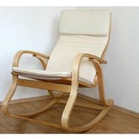 Fotel bujany na biegunach, naturalne drewno, beżowy