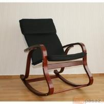 Fotel bujany na biegunach, ciemne drewno, czarny 50476
