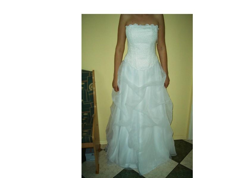 8685335390 Sprzedam białą suknię dwuczęściową gorset+spódnica