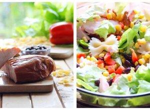 Sałatka z makaronem i wędzonym kurczakiem - ugotuj