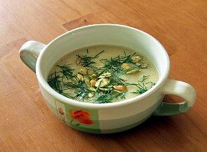 Rybno-porowa zupa krem z pestkami dynii