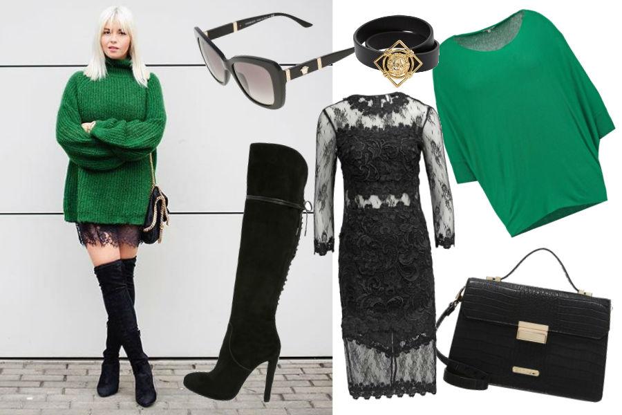 Instagram @ciocialiestyle, zielony sweter, koronkowa sukienka, długie kozaki