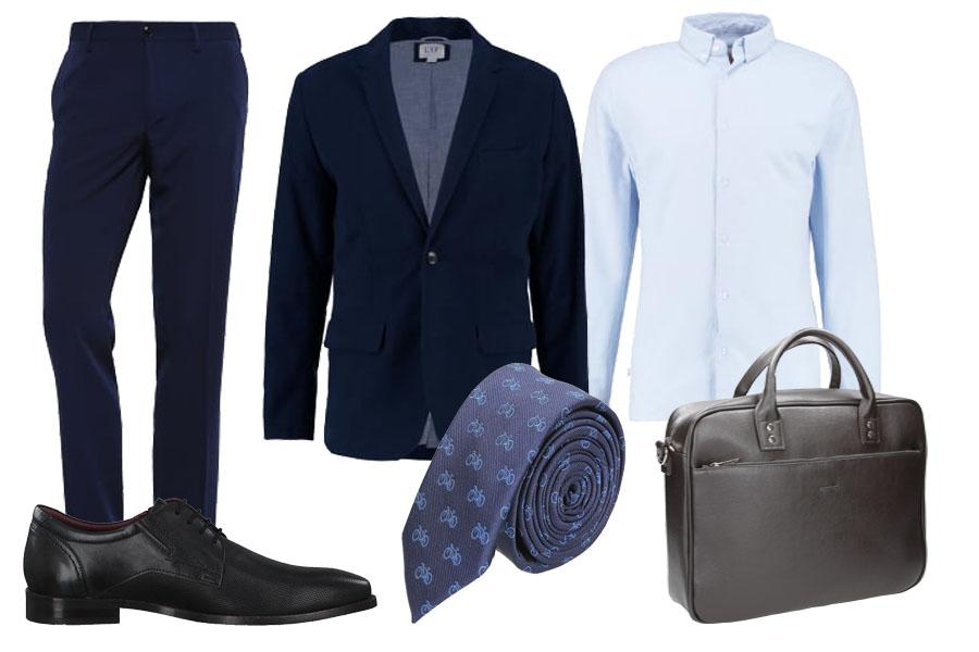 elegancka stylizacja z krawatem / kolaż / materiały partnera