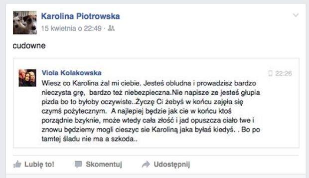 Korwin Piotrowska udostępnia wpis Violi Kołakowskiej