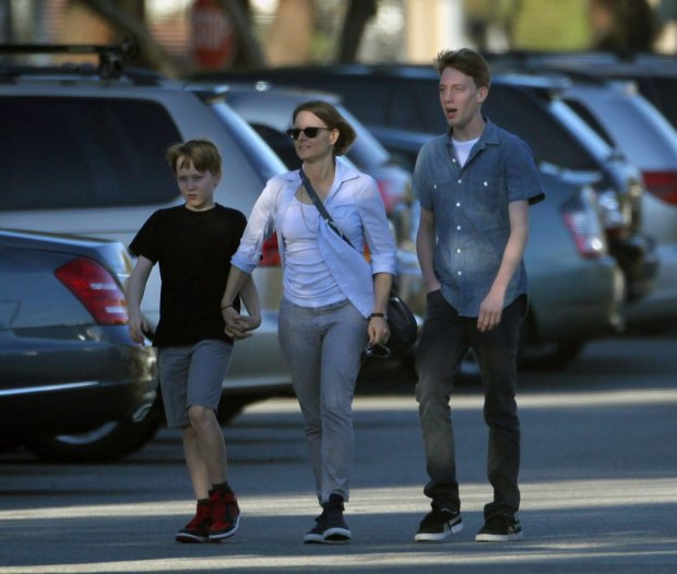 EXCLUSIVE: Jodie Foster, with her children Christopher and Charles, leaving a performance of the play 'Willy Wonka JR.' at the Veteran's Memorial Auditorium in Culver City, California.   Pictured: Jodie Foster, Christopher Foster and Charles Foster