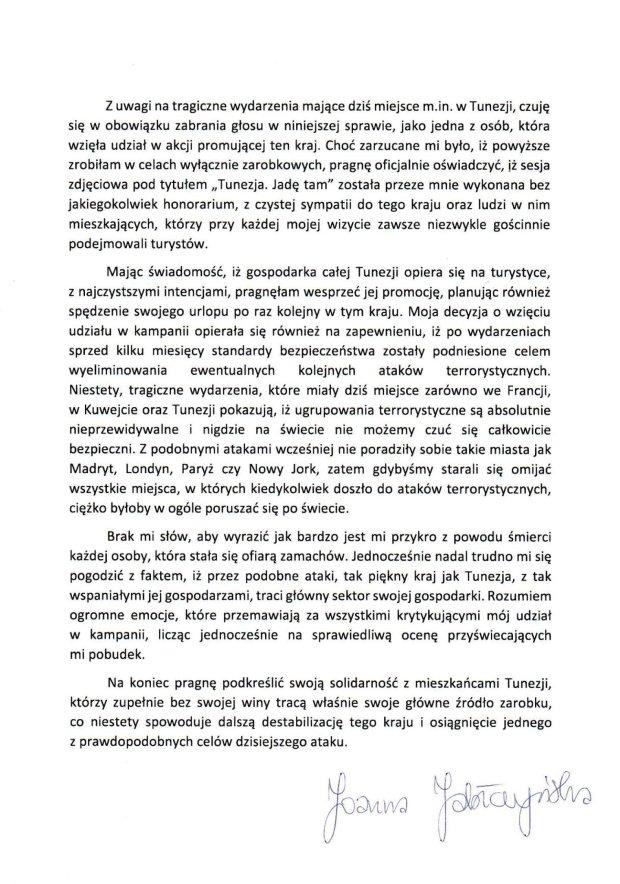 Oświadczenie Joanny Jabłczyńskiej w sprawie 'Tunezja. Jadę tam'