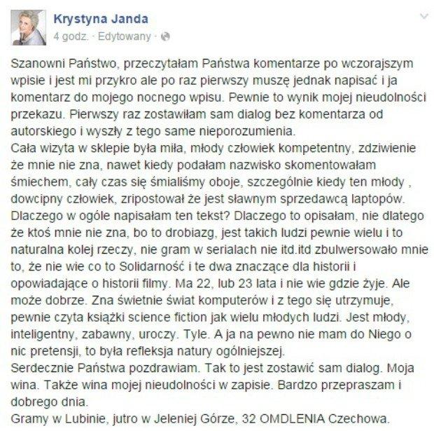 Wpis z Facebooka Krystyny Jandy