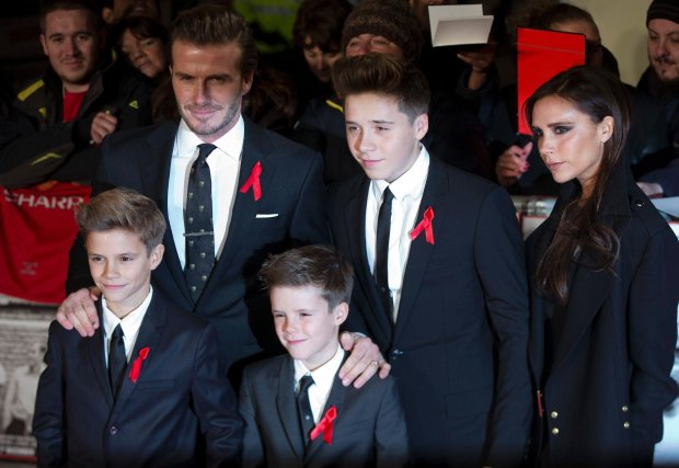Former England soccer captain David Beckham, his wife Victoria, and their children Brooklyn, Cruz and Romeo attend the world premier of the film