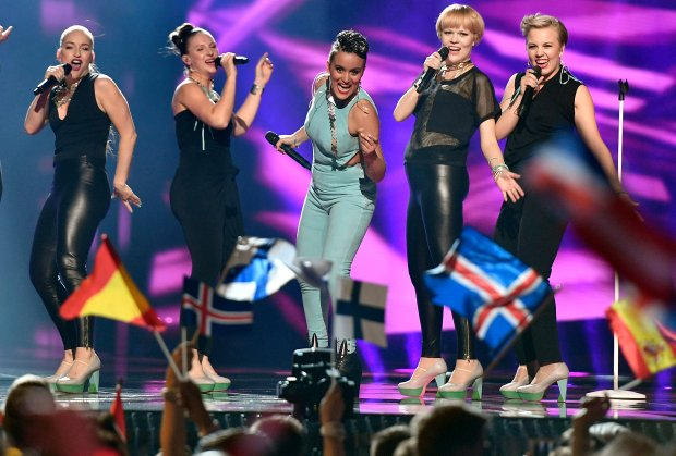 Finland's Sandhja, center, performs 'Sing It Away' during the first Eurovision Song Contest semifinal in Stockholm, Sweden, Tuesday, May 10, 2016. (AP Photo/Martin Meissner)