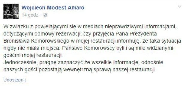 Wpis z Facebooka Wojciech Modesta Amaro